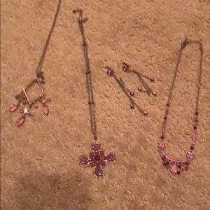 Pink/red and Bronze jeweled set